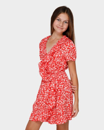 1 TEEN POPPY FLORAL WRAP DRESS Red 5591472 Billabong