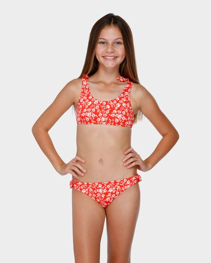 0 Teen Poppy Floral Tie Bikini Set Red 5591552 Billabong