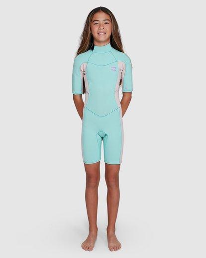 7 202 Teen Synergy Back Zip Short Sleeve FL Springsuit Blue 5703400 Billabong