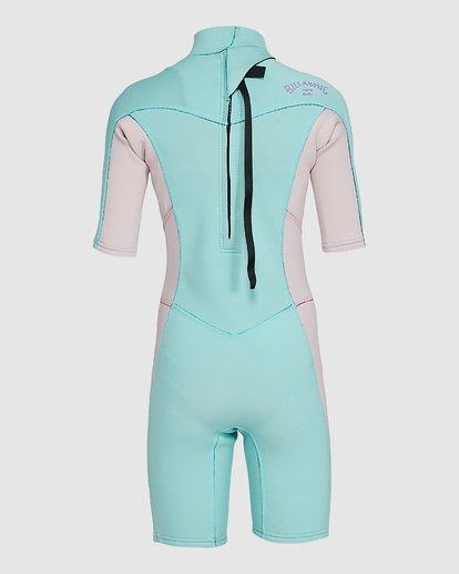 6 202 Teen Synergy Back Zip Short Sleeve FL Springsuit Blue 5703400 Billabong