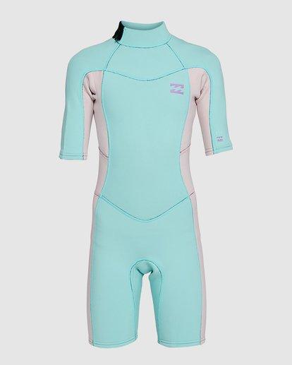 4 202 Teen Synergy Back Zip Short Sleeve FL Springsuit Blue 5703400 Billabong