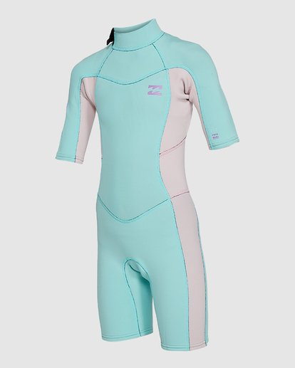 5 202 Teen Synergy Back Zip Short Sleeve FL Springsuit Blue 5703400 Billabong