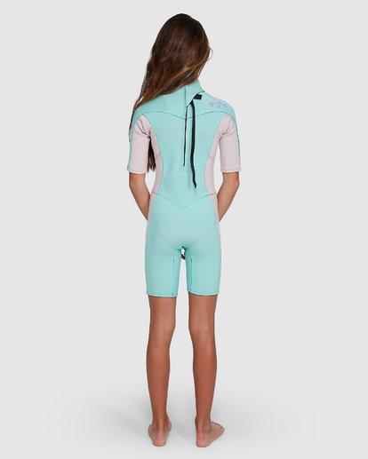 2 202 Teen Synergy Back Zip Short Sleeve FL Springsuit Blue 5703400 Billabong