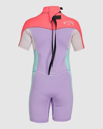 1 2/2 Toddler Synergy Flat Lock Back Zip Short Sleeve Springsuit Purple 5703405 Billabong