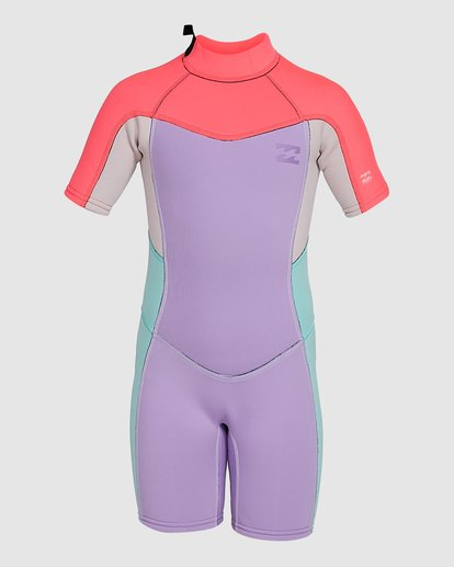2 2/2 Toddler Synergy Flat Lock Back Zip Short Sleeve Springsuit Purple 5703405 Billabong
