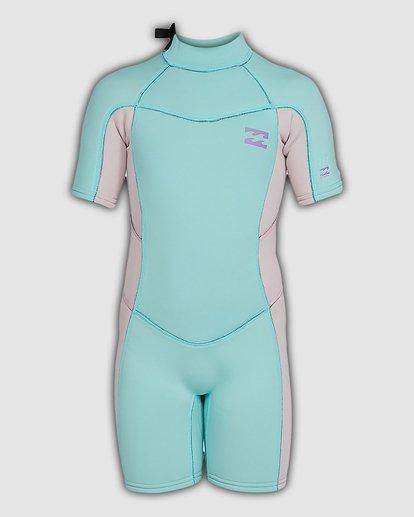 2 2/2 Toddler Synergy Flat Lock Back Zip Short Sleeve Springsuit Blue 5703405 Billabong