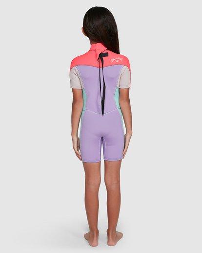 4 2/2 Toddler Synergy Flat Lock Back Zip Short Sleeve Springsuit Purple 5703405 Billabong
