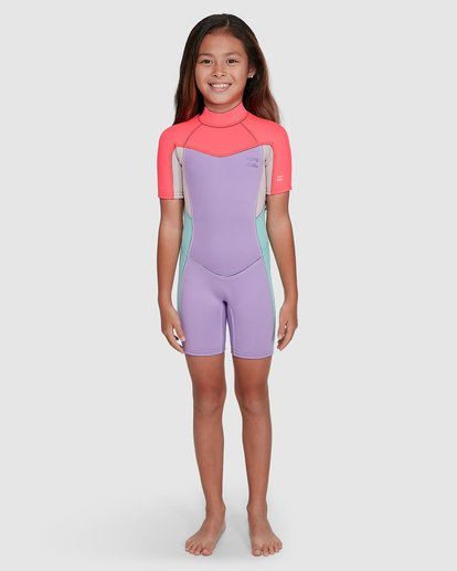 5 2/2 Toddler Synergy Flat Lock Back Zip Short Sleeve Springsuit Purple 5703405 Billabong