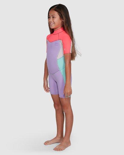 3 2/2 Toddler Synergy Flat Lock Back Zip Short Sleeve Springsuit Purple 5703405 Billabong