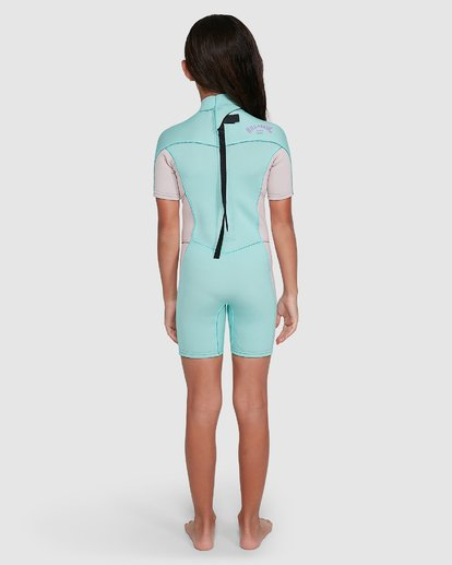 4 2/2 Toddler Synergy Flat Lock Back Zip Short Sleeve Springsuit Blue 5703405 Billabong