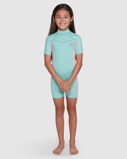 5 2/2 Toddler Synergy Flat Lock Back Zip Short Sleeve Springsuit Blue 5703405 Billabong