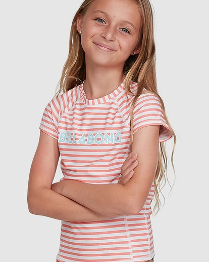 4 Stoked Stripe Short Sleeve Rash Vest White 5704005 Billabong