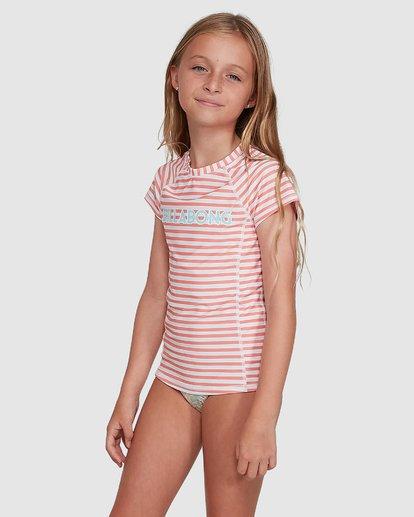 2 Stoked Stripe Short Sleeve Rash Vest White 5704005 Billabong