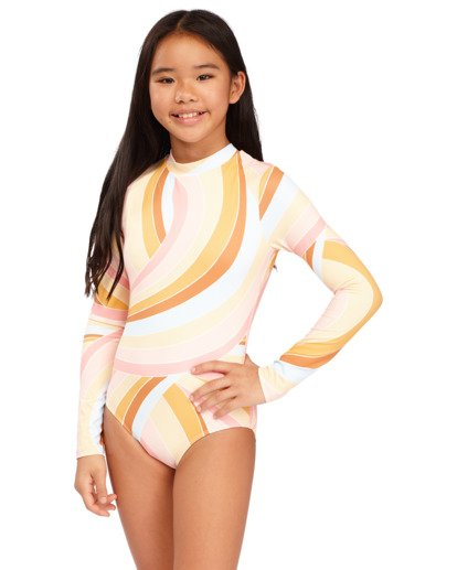 0 Girls 6-14 Sea Of Gold One Piece Bodysuit Grey 5713002 Billabong
