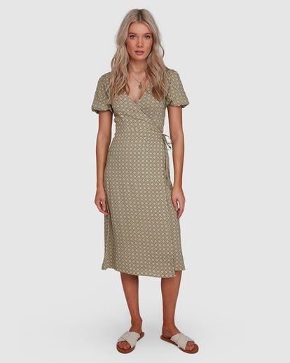 1 Jasmin Midi Wrap Dress Green 6503477 Billabong