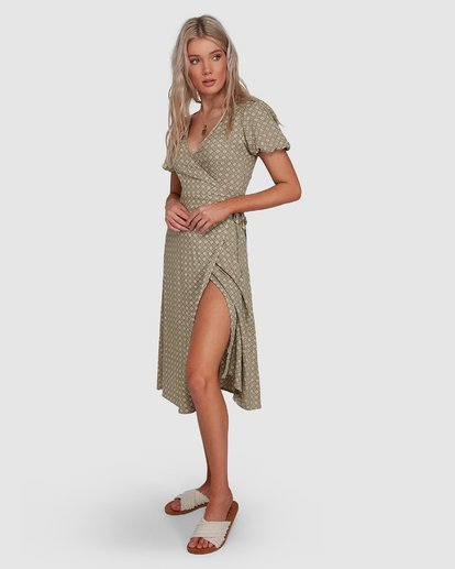 2 Jasmin Midi Wrap Dress Green 6503477 Billabong