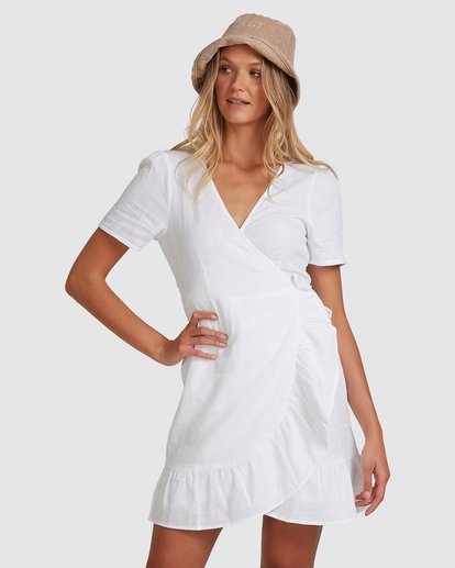 1 Crosshatch Wrap Dress White 6503494 Billabong