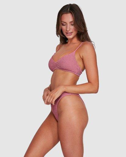 4 Summer High V Neck Bralette Bikini Top Pink 6503738 Billabong