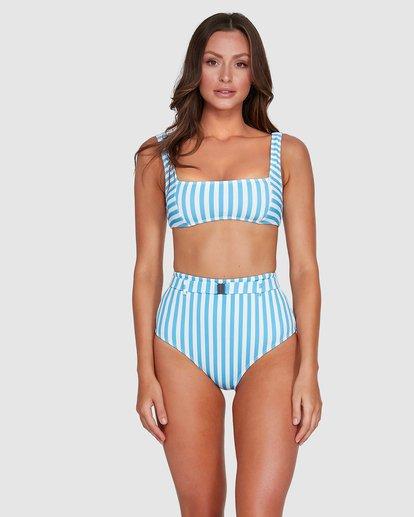 2 Cassy Stripe Square Bralette Bikini Top Blue 6503771 Billabong
