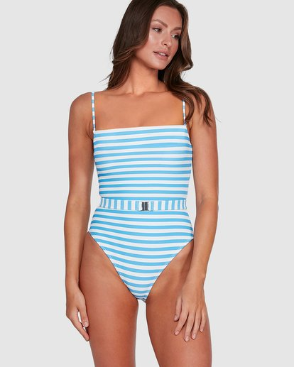 1 Cassy Stripe Belted One Piece Blue 6503772 Billabong