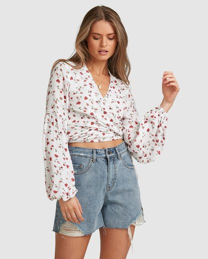 4 Sweet Soul Wrap Top - Steph Claire Smith White 6504155 Billabong