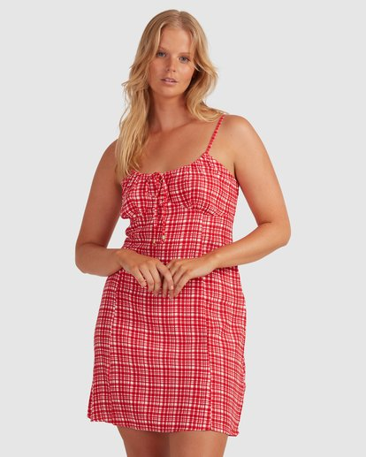 2 Git It Gingham Dress - Steph Claire Smith Red 6504506 Billabong