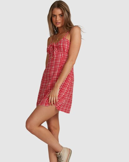 4 Git It Gingham Dress - Steph Claire Smith Red 6504506 Billabong