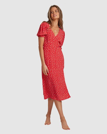 4 Cherry Bomb Midi Wrap Dress - Steph Claire Smith Red 6504507 Billabong