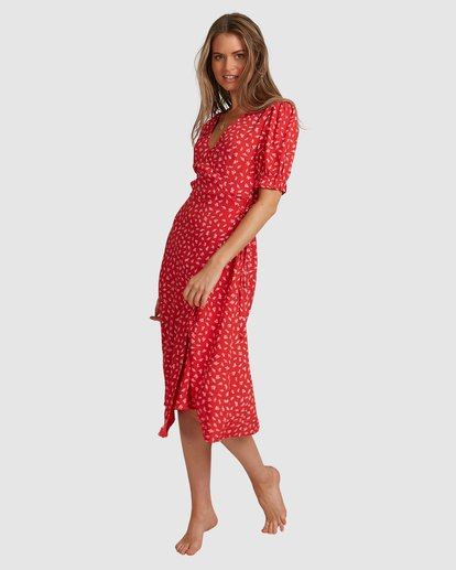 5 Cherry Bomb Midi Wrap Dress - Steph Claire Smith Red 6504507 Billabong
