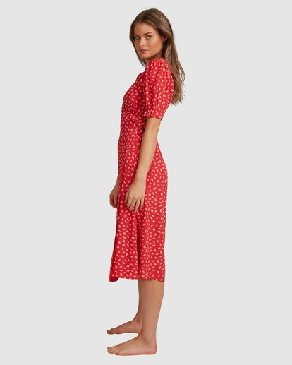 6 Cherry Bomb Midi Wrap Dress - Steph Claire Smith Red 6504507 Billabong