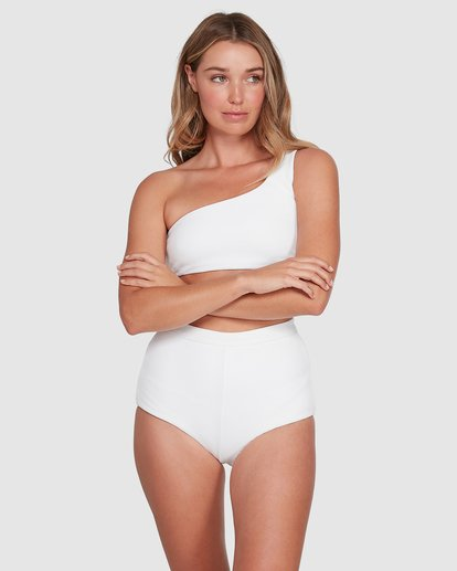 3 Waffle One Shoulder Crop Bikini Top White 6504749 Billabong