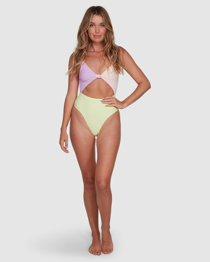 6 Tanlines Knot Front One Piece Green 6504821 Billabong