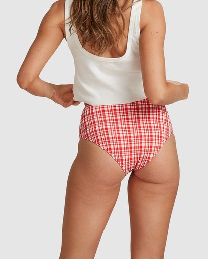 7 Get It Gingham Hi Retro Bikini Bottoms - Steph Claire Smith Red 6504917 Billabong