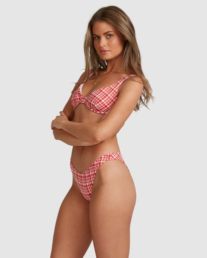 6 Get It Gingham Hike Bikini Bottoms - Steph Claire Smith Red 6504918 Billabong
