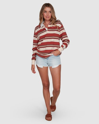 6 Double Up Rugby Long Sleeve Top Brown 6507143X Billabong