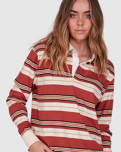 4 Double Up Rugby Long Sleeve Top Brown 6507143X Billabong