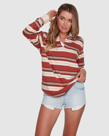 1 Double Up Rugby Long Sleeve Top Brown 6507143X Billabong