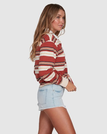 2 Double Up Rugby Long Sleeve Top Brown 6507143X Billabong