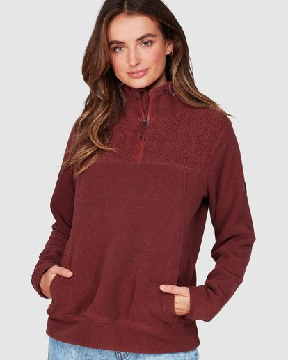 0 Boundary Mock Half Zip Purple 6507740 Billabong