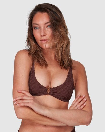 1 Summer High Ring Bralette Bikini Top Brown 6508569 Billabong