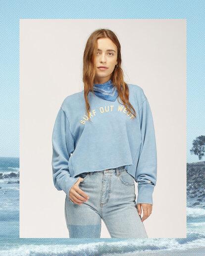 0 Wrangler Past Time Crew Neck Sweatshirt Blue 6513211 Billabong