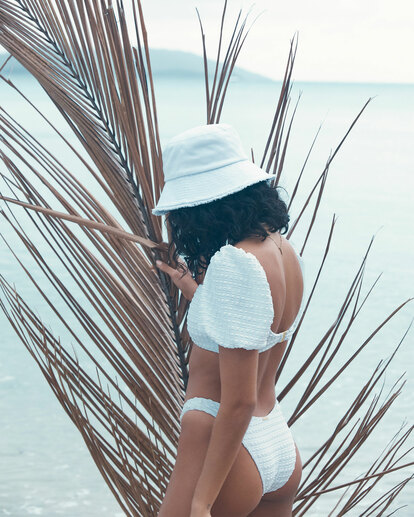 0 Wave Check Puff Sleeve Bikini Top White 6513744 Billabong