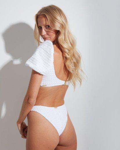 2 Wave Check Puff Sleeve Bikini Top White 6513744 Billabong