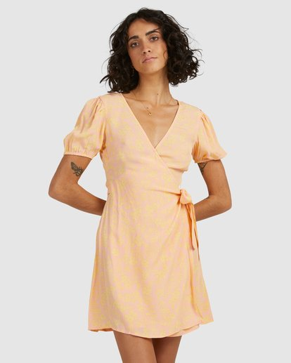 2 Hot Tropics Wrap Dress Orange 6513917 Billabong