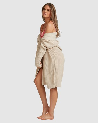4 Sundown Longline Cardigan - Steph Claire Smith Beige 6517305 Billabong