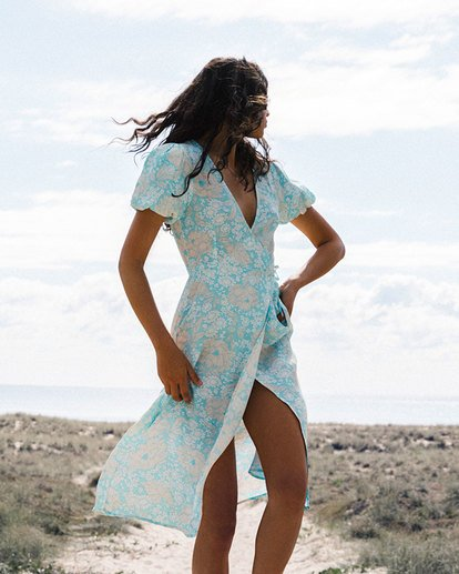 0 Blue Ray Midi Wrap Dress Blue 6517472 Billabong