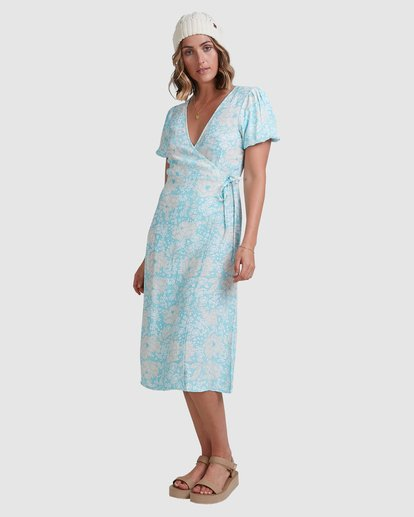 3 Blue Ray Midi Wrap Dress Blue 6517472 Billabong