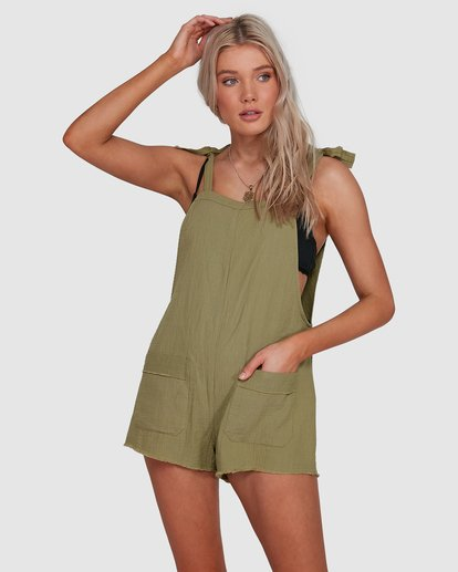 1 Girl On The Run Playsuit Green 6591153 Billabong