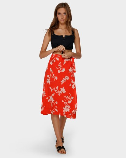 4 MAD LOVE FLORAL SKIRT Orange 6591522 Billabong
