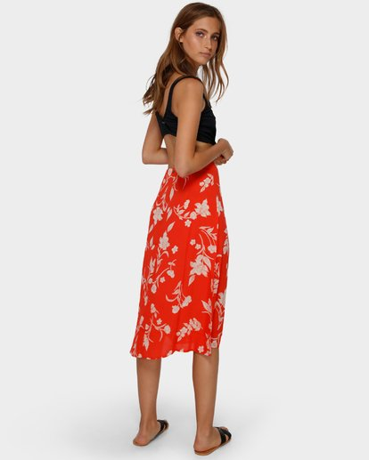 3 MAD LOVE FLORAL SKIRT Orange 6591522 Billabong